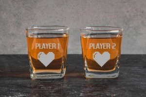 Zestaw 2 szklanek do whiskey Players  Hearts